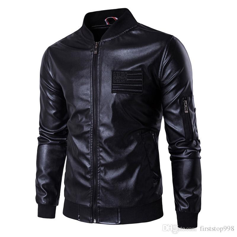 Американские кожаные мужчины Мужские буквы Новые кожаные осенние куртки и флаг весенние вышивка пальто бомбардировщики SWDSF