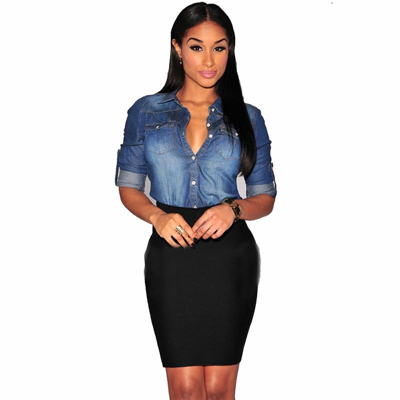 Bayan Chambray Üst Denim Gömlek ve Bluzlar Uzun Kollu Snap Düğmesi Bayanlar Gömlek Camisa Blusa Camisetas Femininas