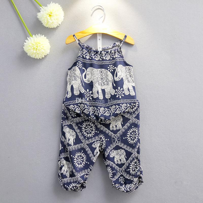 Children Elephant print outfits girls Sling top+pants 2pcs/set 2018 summer Baby suit Boutique kids Clothing Sets 2 colors C3892