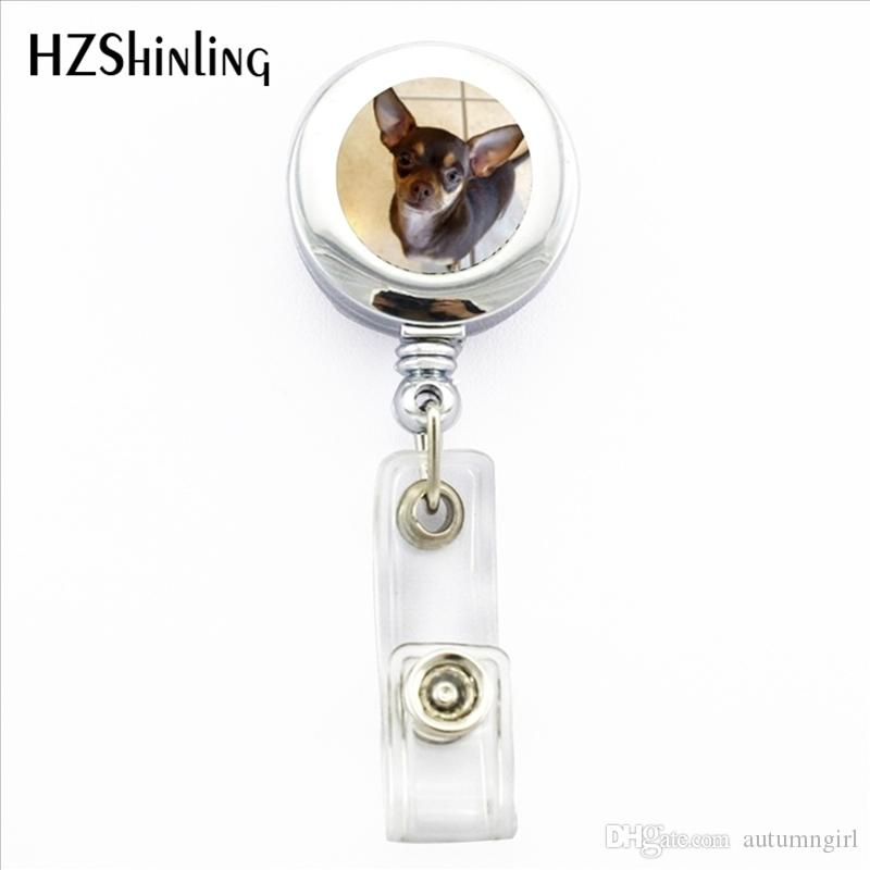 NBH-0012 New Chihuahua ID Card Holder Little Chihuahua Retractable Metal Card Badge Holder Dog Lovers Gifts Photo Badge Holder