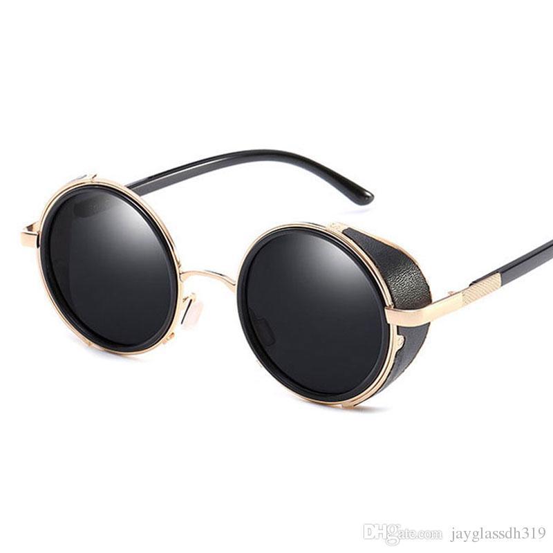 Leather Steampunk Goggles Black Round Vintage brand designer Sunglasses Men Women Circle Gothic Glasses UV400 Tinted Lenses