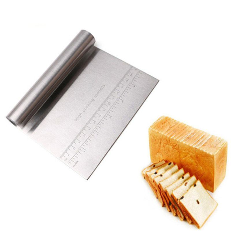 Stainless Steel Pizza Cake Dough Scraper Cutter Baking Pastry Spatulas Fondant Cream Cutting With Measuring Guide Kitchen Tools