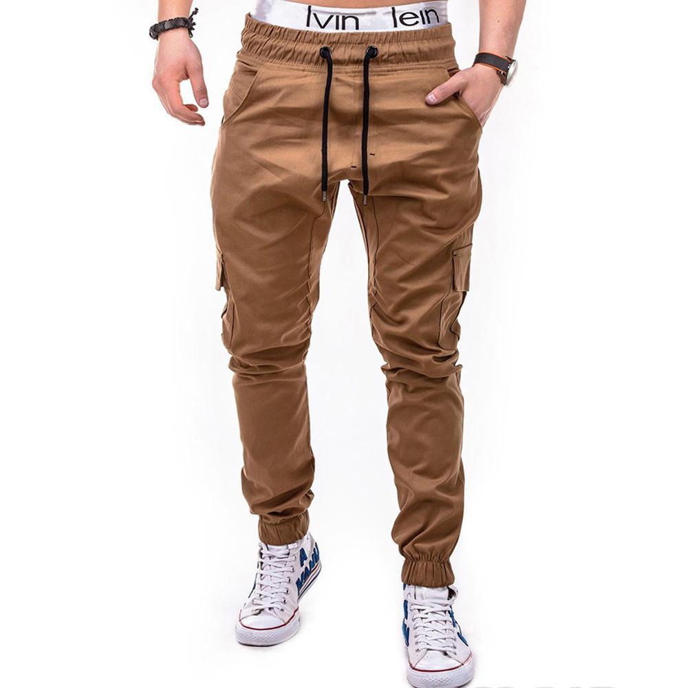 dos homens Jogger Pants 2018 Moda Outono masculino Herren Skinny Fit Carga Chino Hip Hop estiramento Solid Color Multi-pocket Pant