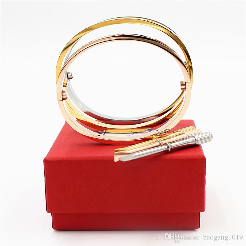 Luxury High Qualtiy Classic Design Bracelets&Bangles For Lover's Stainless Steel Cuff Wedding Bracelets Jewelry With Screw
