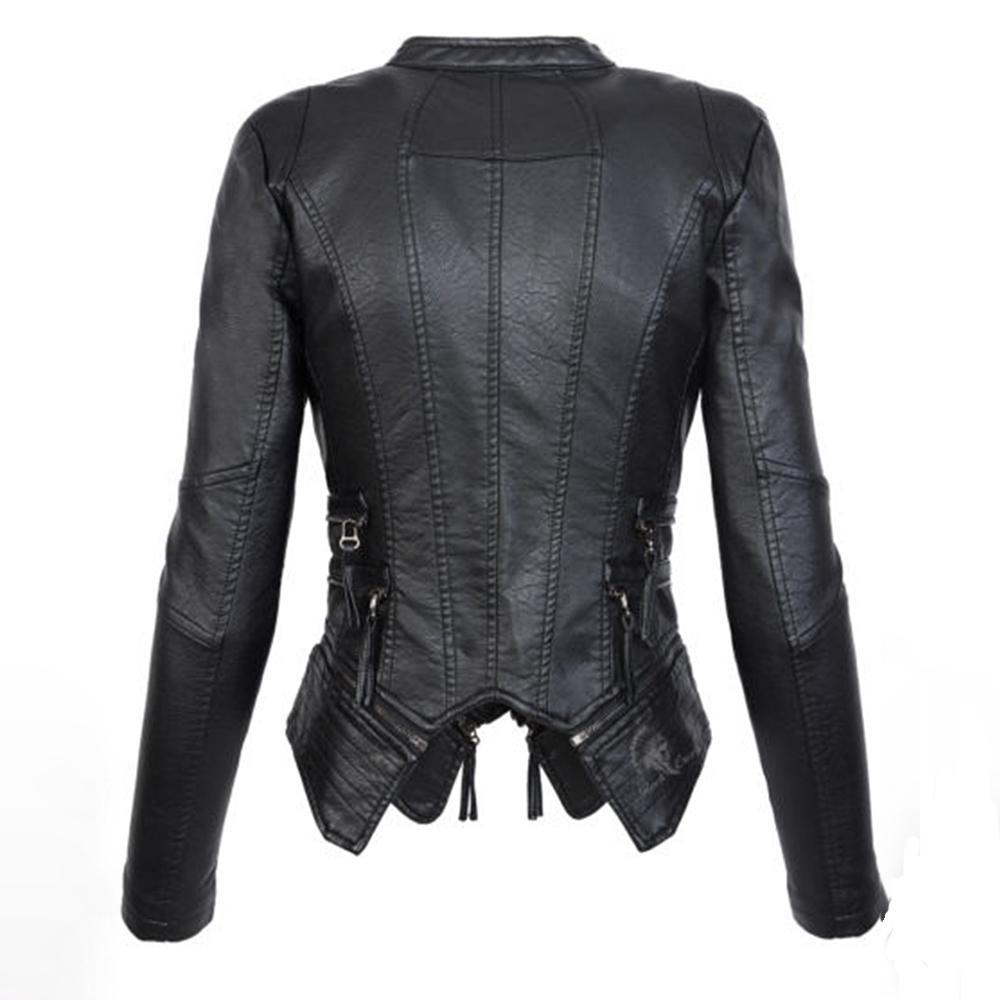 Großhandel Rosetic Gothic Jacke Frauen Leder Schwarze Jacke Weiblichen Mantel Herbst Faux Weiche Lederjacke Damenmode Reißverschluss Motorrad PU Von