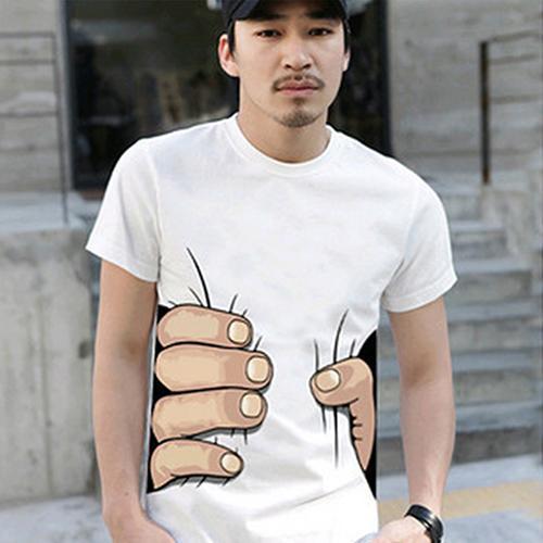 2017 nuevo producto moda hombre verano 3D impresión de la mano grande cuello redondo manga corta camiseta blanca