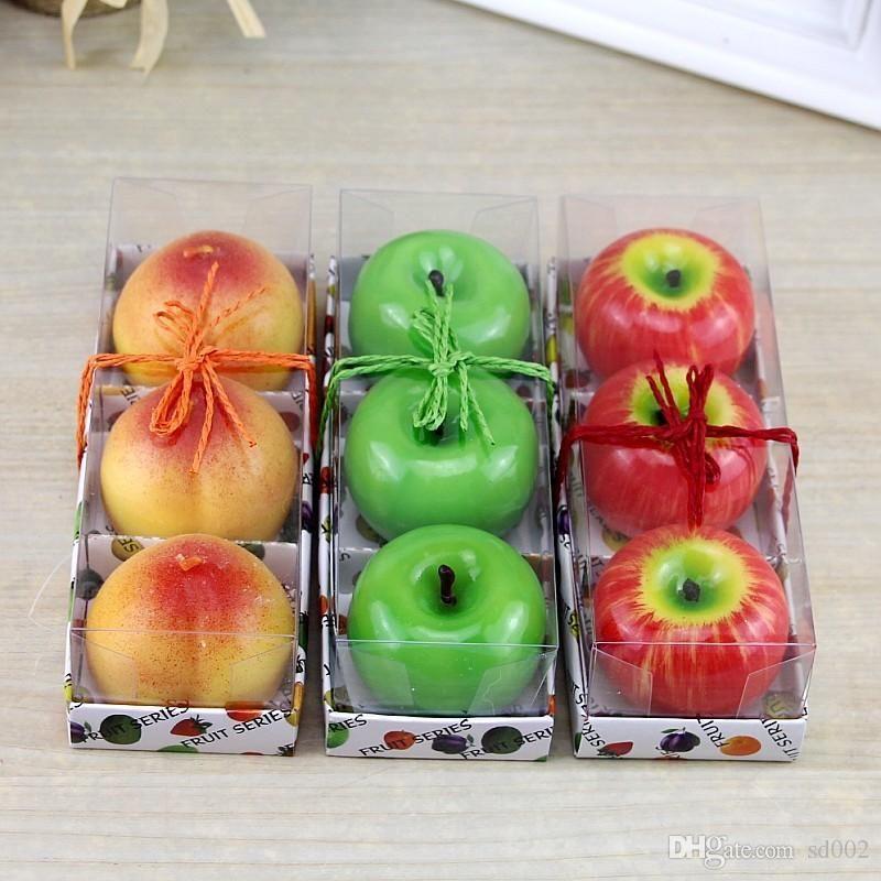 Artificielle Fruits Bougies Parfumées Orange Citron Pêches Pomme Forme Bougie Viivid Romantique Pour Mariage Décoration De Fête De Noël 4 2bs ZZ
