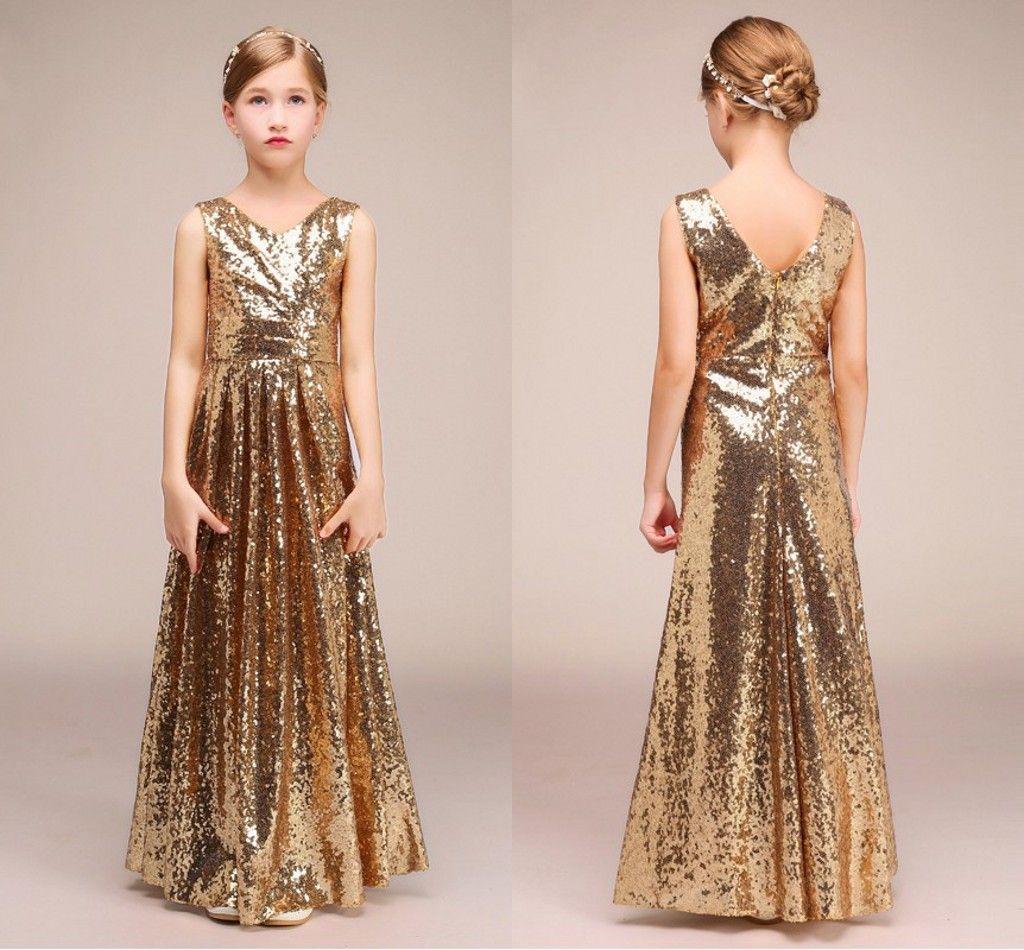Sexy Gold Sequined Junior Bridesmaid