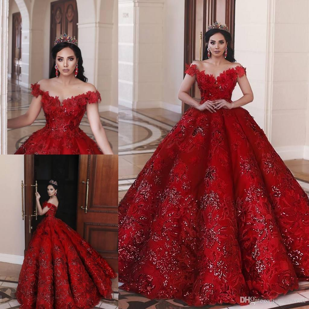 Robes De Mariée Rouge Arabe Saoudien 2019 Off The Shoulder Dentelle Appliqued Dubai Cristal Perlé Robes De Mariée Robe De Novia
