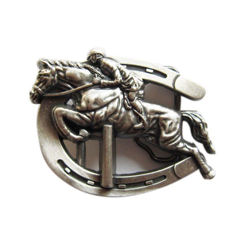 Novo Vintage Prata Banhado A Cavalo Esportes de Salto Fivela de Cinto Boucle de ceinture