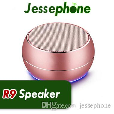 R9 металла мини Bluetooth колонки светодиодные сабвуфер беспроводной динамик компьютерная поддержка TF FM Mic для iPhone X 8 7S Samsung S8 Edge sound bar