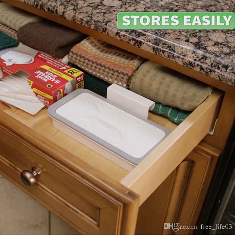 Cupboard Cabinets Garbage Bag Holder Trash Rack Storage Hanger Kitchen Gadget