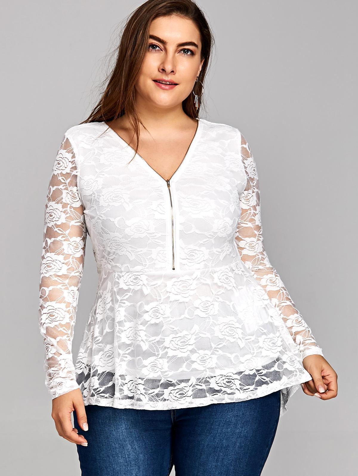 cheap price hot-selling fashion detailed look 2019 AZULINA Plus Size Women Clothing Lace Dip Hem Peplum Top Blouses  Shirts 2018 White Ladies Tops Blusas Big Size Women Blouse 5XL From  Pinkcolor, ...