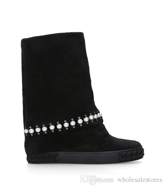 Black Color Suede Women Boots Short Booties Pearl Decor Height Increasing Brand Runway Super Star Cool Shoes Wedges Women Shoes