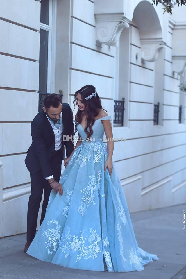 Custom Made Ball Giwn Light Blue Prom Dresses 2019 Vintage Lace Plus Size Girls Pageant Formal Evening Party Gowns
