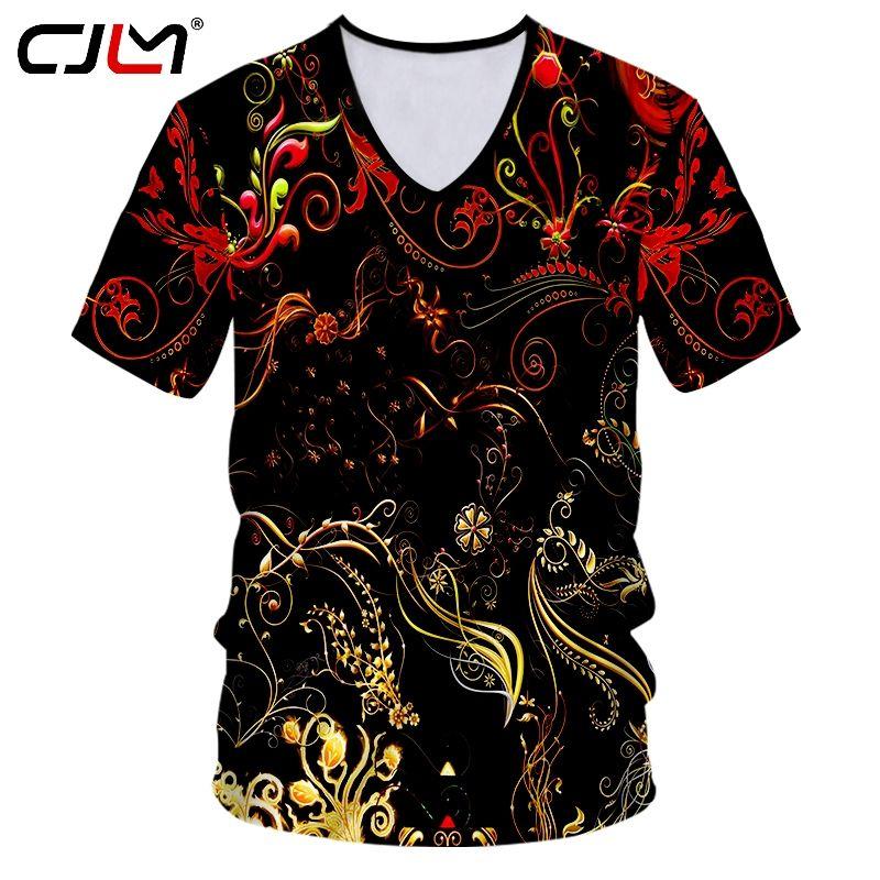 T-shirt pour hommes col V Dropshipping personnalisé impression fleur ananas 3D T-shirt d'entraînement masculin Fitness Casual Tee Shirts