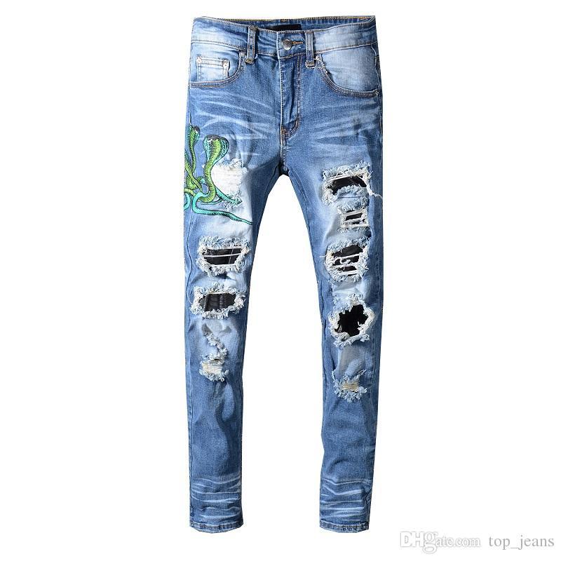 Famosos parches desgastados Biker Cargo Jeans elásticos Demin jeans Hiphop pantalones recortados con Extreme ripped Straight Plus