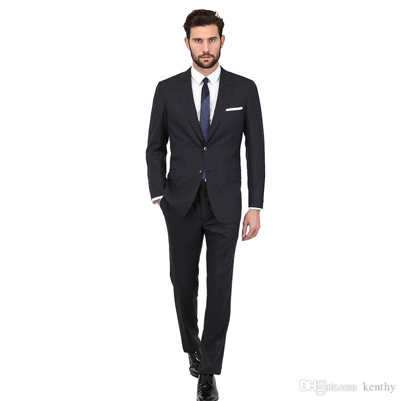 New 2018 Black Men Suits Skinny Wedding Suits Custom Made Bridegroom Business Slim Fit Simple Formal Tuxedos Blazer Prom Party Jacket+Pants