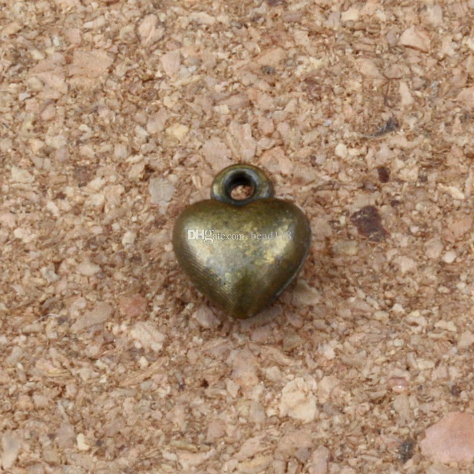 Encantos do Amor do Coração Pingentes 200 Pçs / lotes 7x9.5mm Antique bronze Liga ewelry DIY Fit Pulseiras Colar Brincos A-300