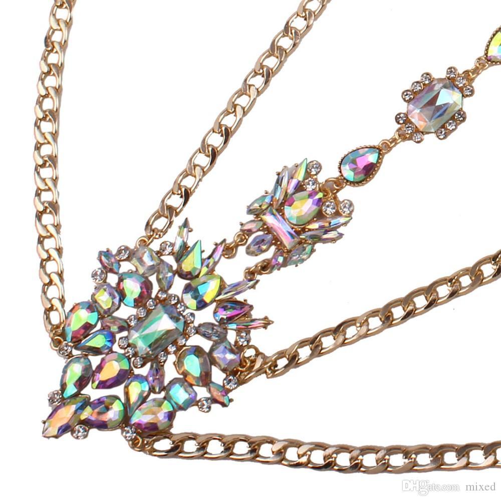 Rhinestone Тело ожерелье цепи Роскошные Макси ожерелье Женщины Цветочный Колье Femme себе 2017 Летние украшения