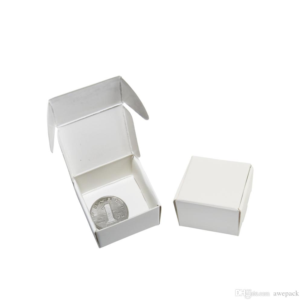 50pcs/lot 4*4*2.5cm Mini White Boutique Kraft Paper Box Wedding Gift Ring Earring Packing Box Party Supplies Jewelry Packaging Decor Box
