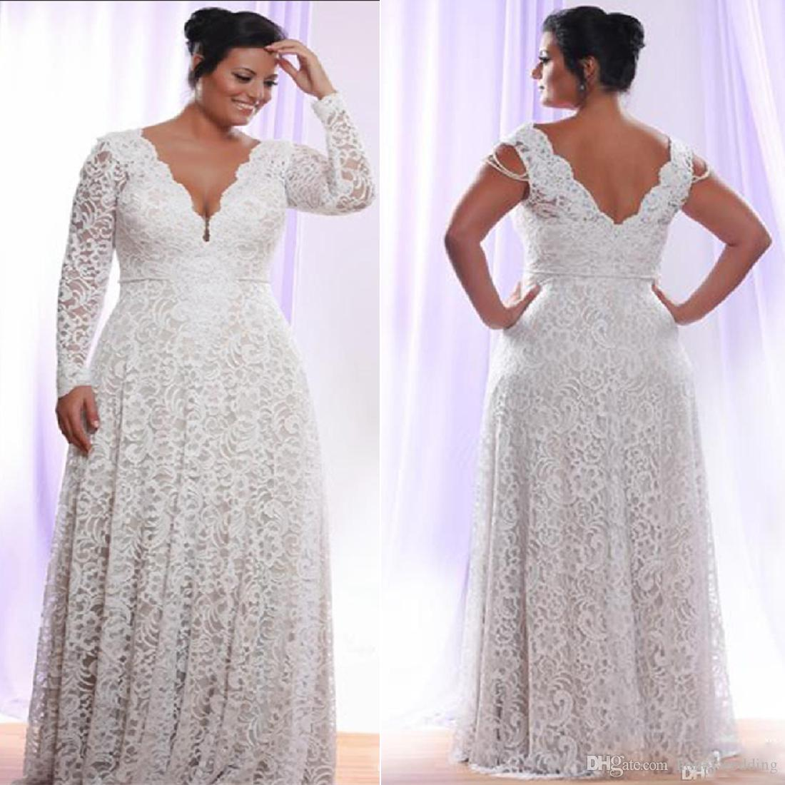 Discount Cheap Full Lace Plus Size Wedding Dresses Long Sleeves