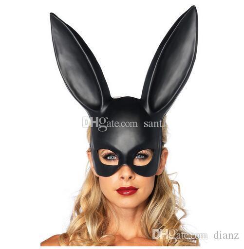 Festive Women Girl Party Rabbit Ears Mask Black White Cosplay Costume Cute Funny Halloween Mask