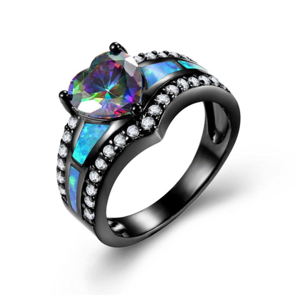 Charm Multicolor Heart Zircone Blu / Viola / Verde Colorful Stone Ring Anello da donna in oro nero vintage opal nero per fucile opale