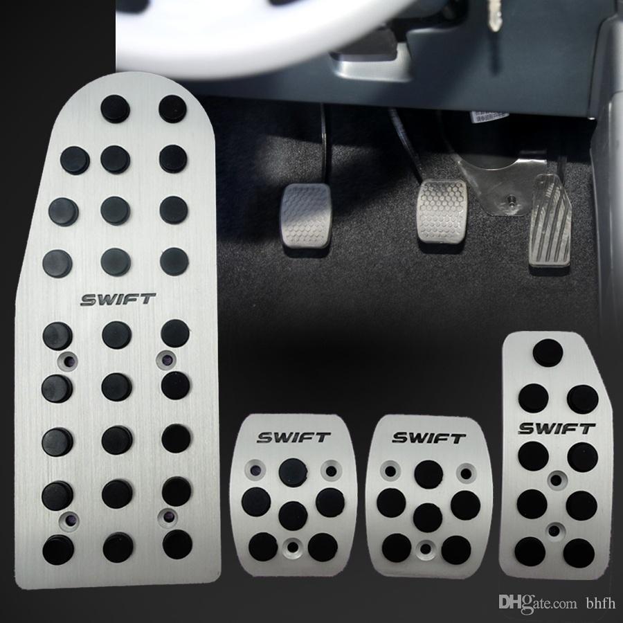 4 개 자동차 자동 차량 미끄럼 방지 풋 페달 페달 커버 패드 알루미늄 스즈키 SWIFT MT