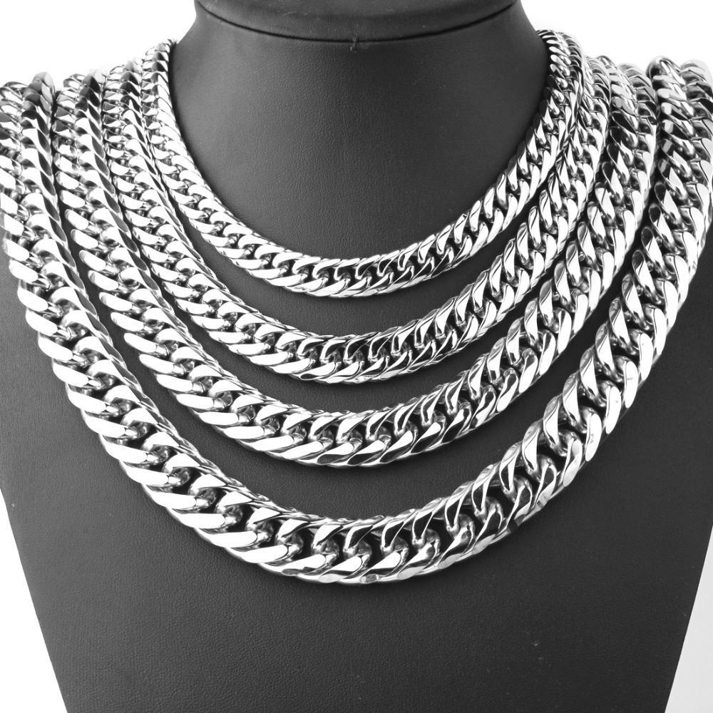 """9/13 / 15mm masculino moda fresco prata de aço inoxidável bling cordadura cadeia 8 """"-40"""" qualidade superior"""