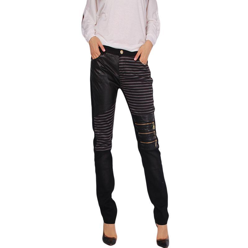 Frauen Pu leder Patchwork Jeans Hosen Mode Reißverschlüsse