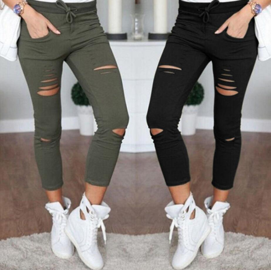 2018 Summer Skinny Jeans Women Denim Pants Holes Destroyed Knee Pencil Pants Casual Trousers Black White Stretch Ripped Jeans