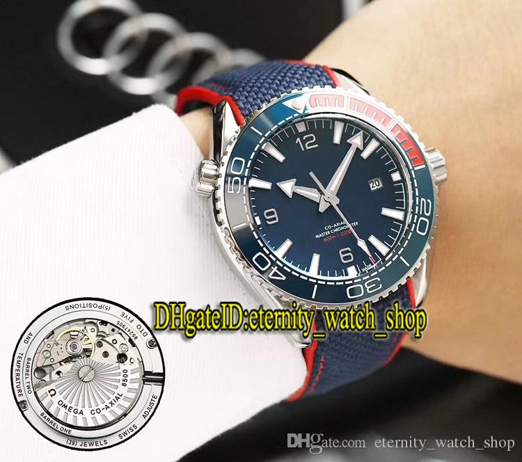 7-Color Planet Ocean 215.32.44.21.01.001 Ceramic Bezel Blue Date Dial Japan Miyota Automatic Mens Watch Nylon Rubber Strap Watches