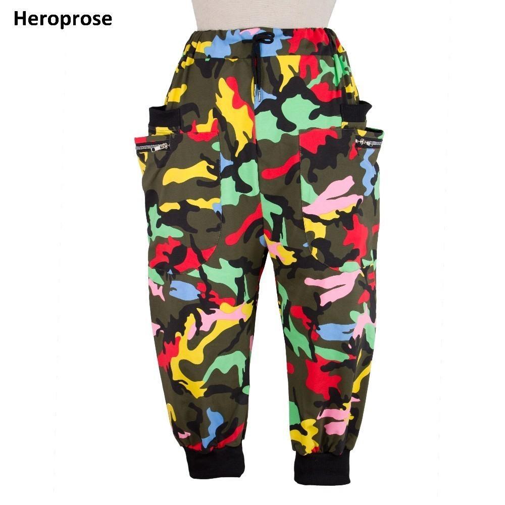 Heroprose 새로운 패션 여성 댄스웨어 바지 ds 복장 카프리 스웨트 봄 여름 여성 재즈 카모 하렘 힙합 바지