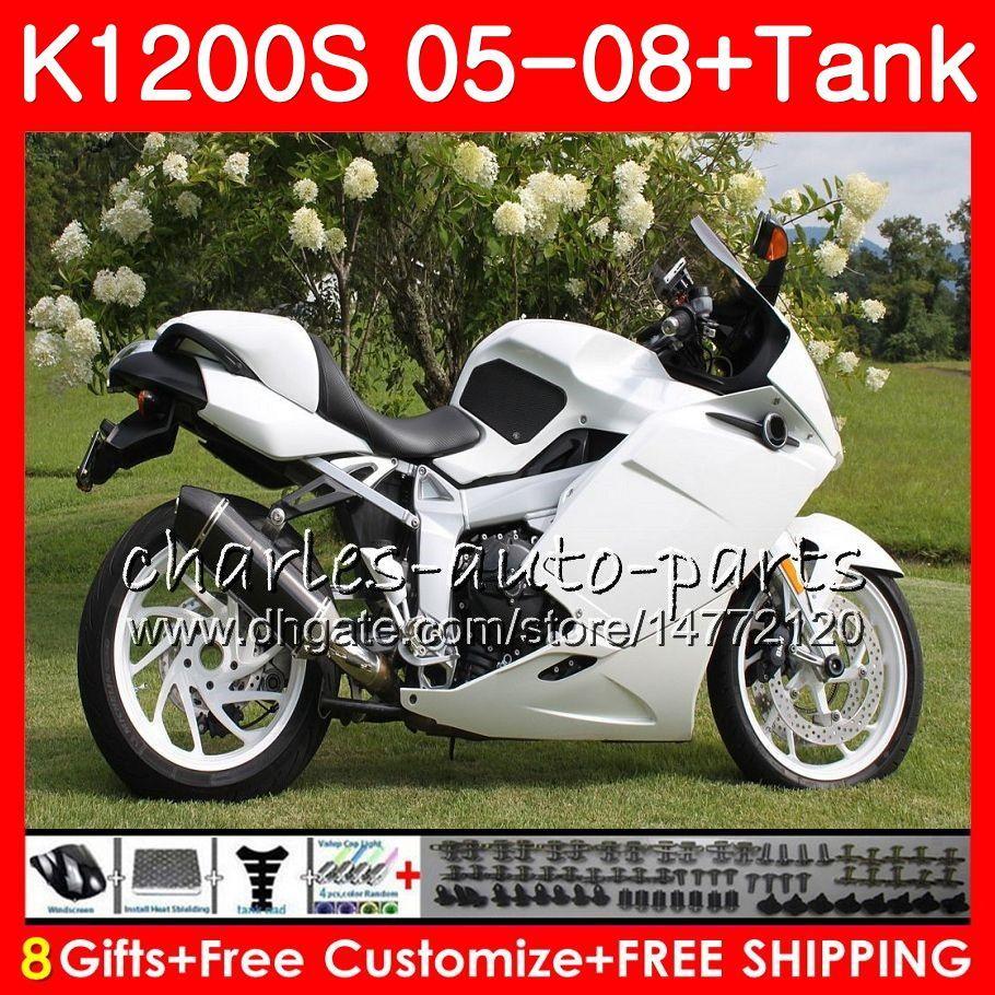Ciało dla OEM Gloss White K1200 S K 1200 S 05 10 K1200S 05 06 07 09 10 10 103HM.14 K-1200S K 1200S 2005 2006 2007 2008 2000 2010