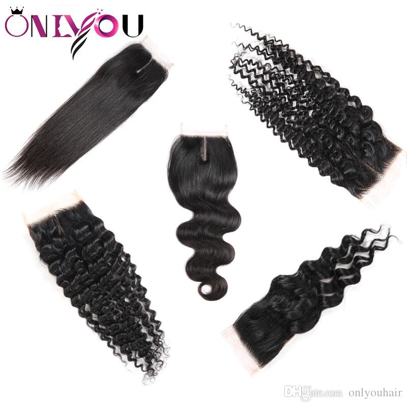 Onlyou Hair® ملحقات الشعر البشري أعلى إغلاق مستقيم الجسم موجة عميقة المياه البرازيلي العذراء الشعر 4 * 4 الأوسط الرباط اختتام الحرة بالجملة