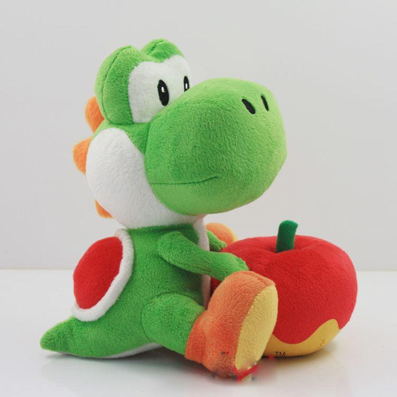 17cm Yoshi with Apple Plush Doll Toy Super Mario Yoshi Plush Toy Christmas Gift for Kids