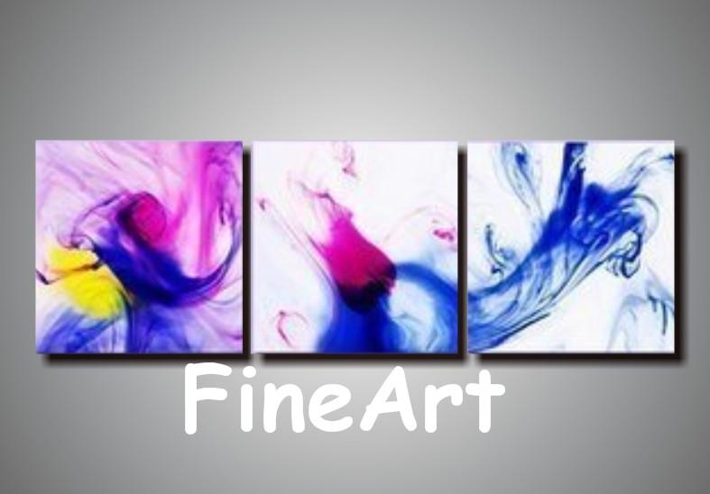 수제 캔버스 아트 세트 3 밝은 유화 캔버스 도매 미술 그림 현대 소파 세트 디자인