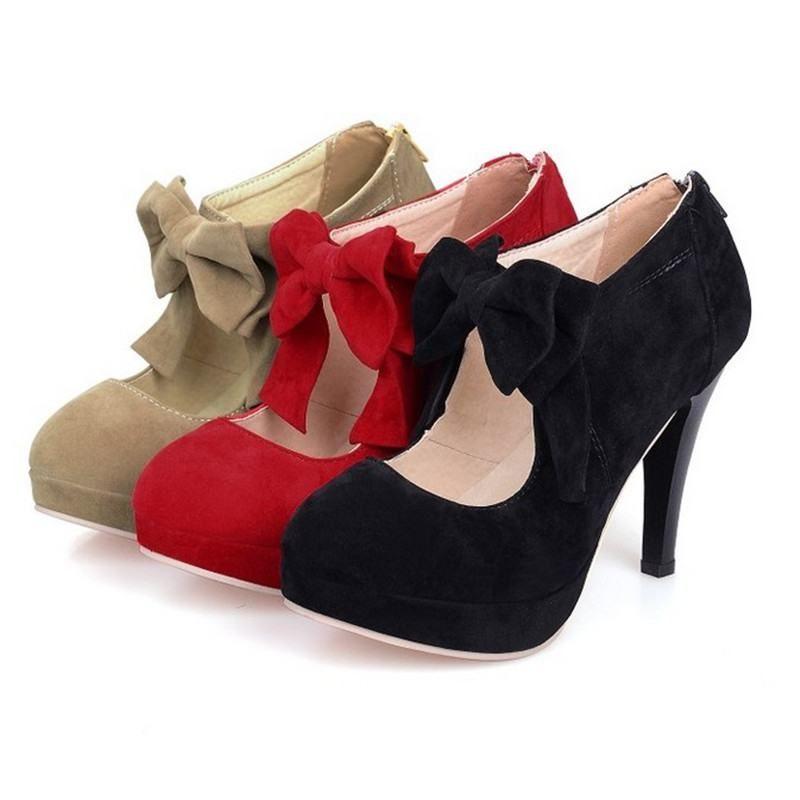 Seksi moda tatlı yüksek topuklu ayakkabılar pompalar bayan bahar sonbahar papyon düğün ayakkabı yuvarlak ayak zv108