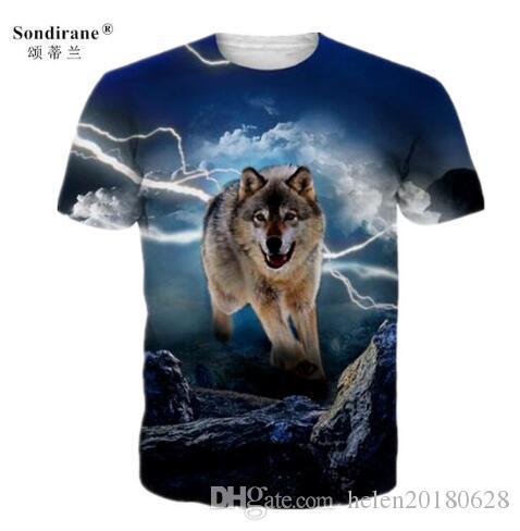 Sondirane New Summer Women/Men Animal Wolf 3D Print T Shirts Casual Short Sleeve T-Shirt Hip Hop Tops Comfortable Tees