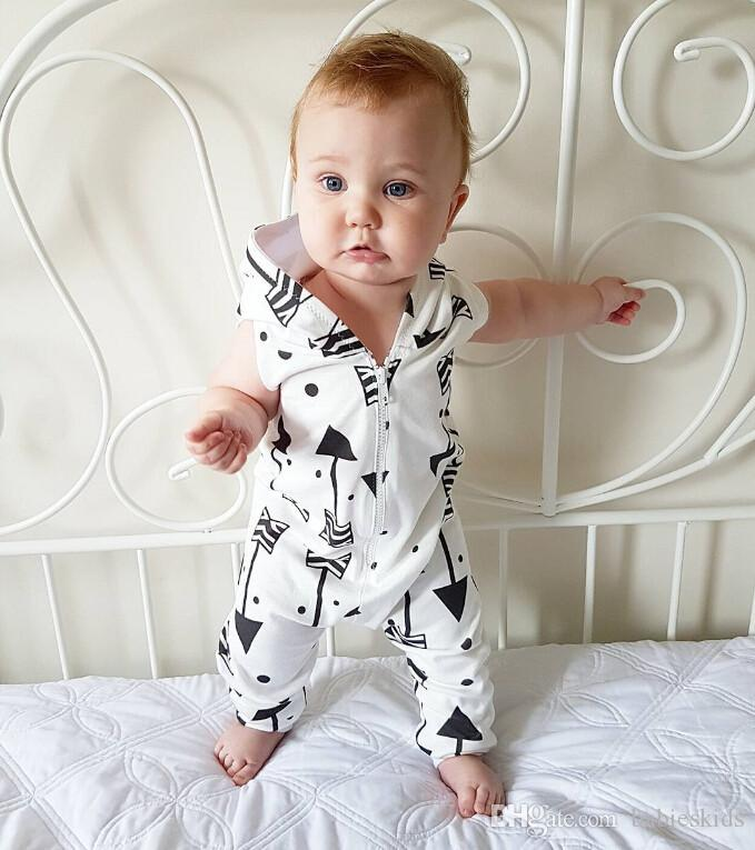1PCS Infant Baby Boys Girls  Geometric Printing Hooded Romper Jumpsuit Summer