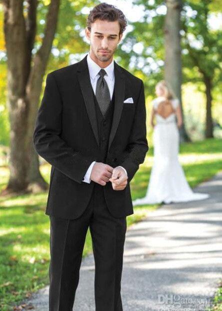 New haute qualité marié noir smokings garçons d'honneur hommes costumes de mariage blazer bal costume formel d'affaires (veste + pantalon + gilet) 284