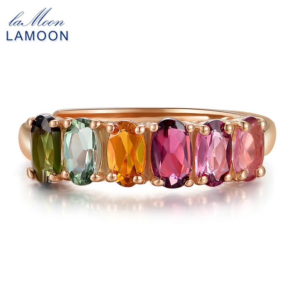 LAMOON 100% Real Natural 6pcs 1.5ct Oval Multi-color Tourmaline Ring 925 Sterling Silver Jewelry with S925 LMRI005 S18101001