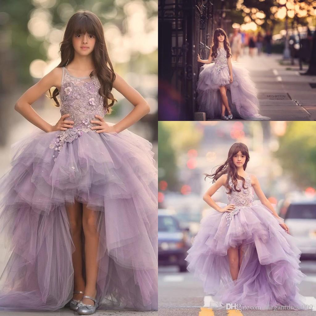 Princess Lovely Little Girls Pageant Dresses Hi-LoTulle Lace Applique Backless Jewel Neck Handmade Flowers Sweep Train Kids Prom Dresses