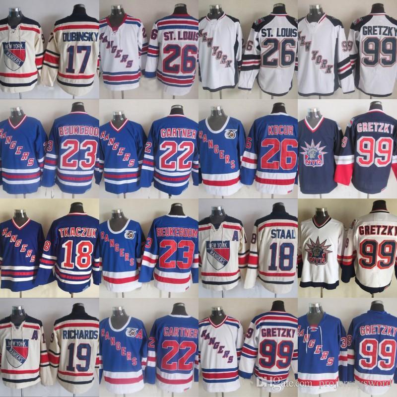 New York Rangers 99 Wayne Gretzky Jersey 18 Marc Staal 22 Mike Gartner 23 Jeff Beukeboom 26 Joe Kocur 75th Hockey Jerseys