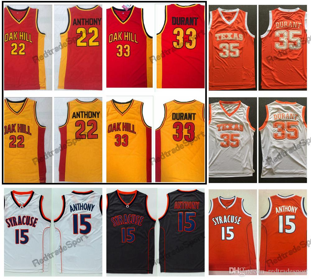 Vintage 33 Kevin Durant 22 Carmelo Anthony Oak Hill High School Basketball Jerseys Texas Longhorns Syracuse Orange College Stitched Shirts