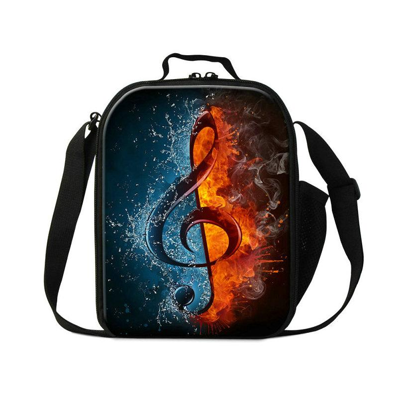 Canvas High Quality Lunch Bags For Boys Girls Musical Note Pattern Food Lunch Box For Students Children's Small Bolsa Termica Thermal Cooler
