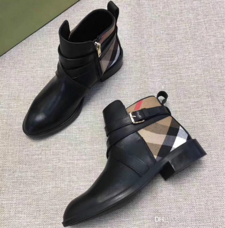 bottillons des femmes de luxe nouveau cuir tissu à carreaux faits à la main à plat sauvage coutures confort boucle bottes britannique Martin