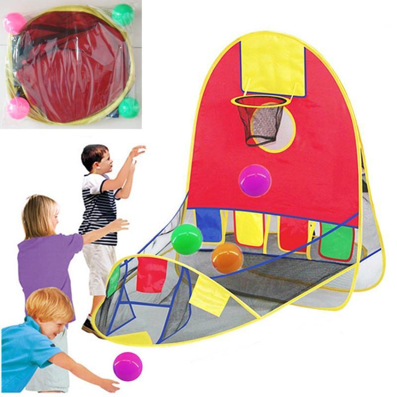 Otress crianças dobrável out / esportes indoor tenda de tiro de basquete brinquedos com 4 oceano bola portátil brinquedo divertido presente do jogo do esporte vq787
