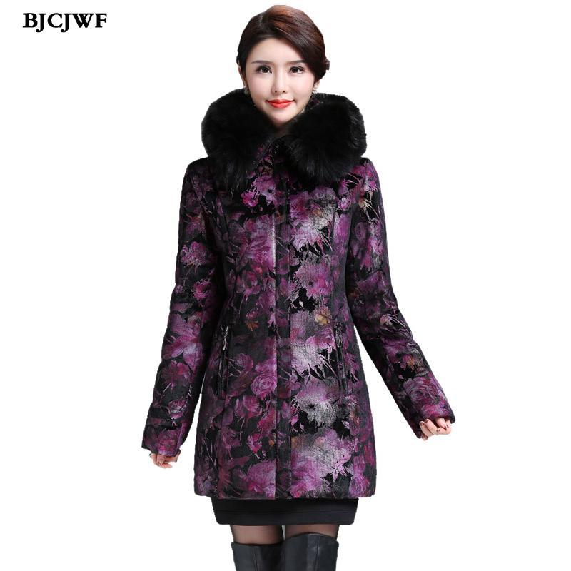 Collar Parka Luxury Women's Blumendruck Plus Damen Dicke Raccon Size Von Daunenjacke Real Großhandel Z02a Outwear Winterjacke Hooded Warme doBQWCrxeE